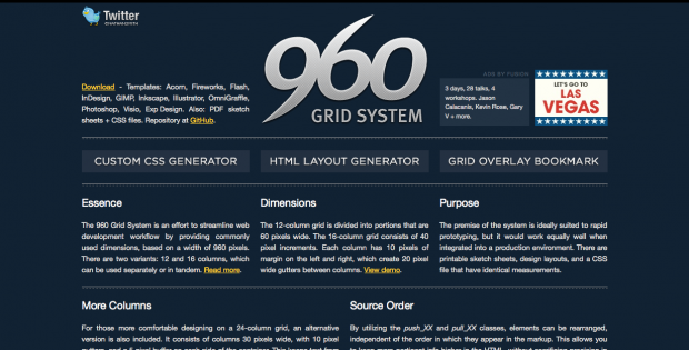 The 960 grid system website