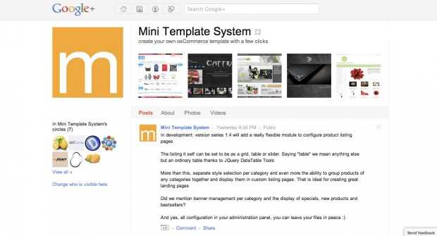 The new Google+ site for mini template system